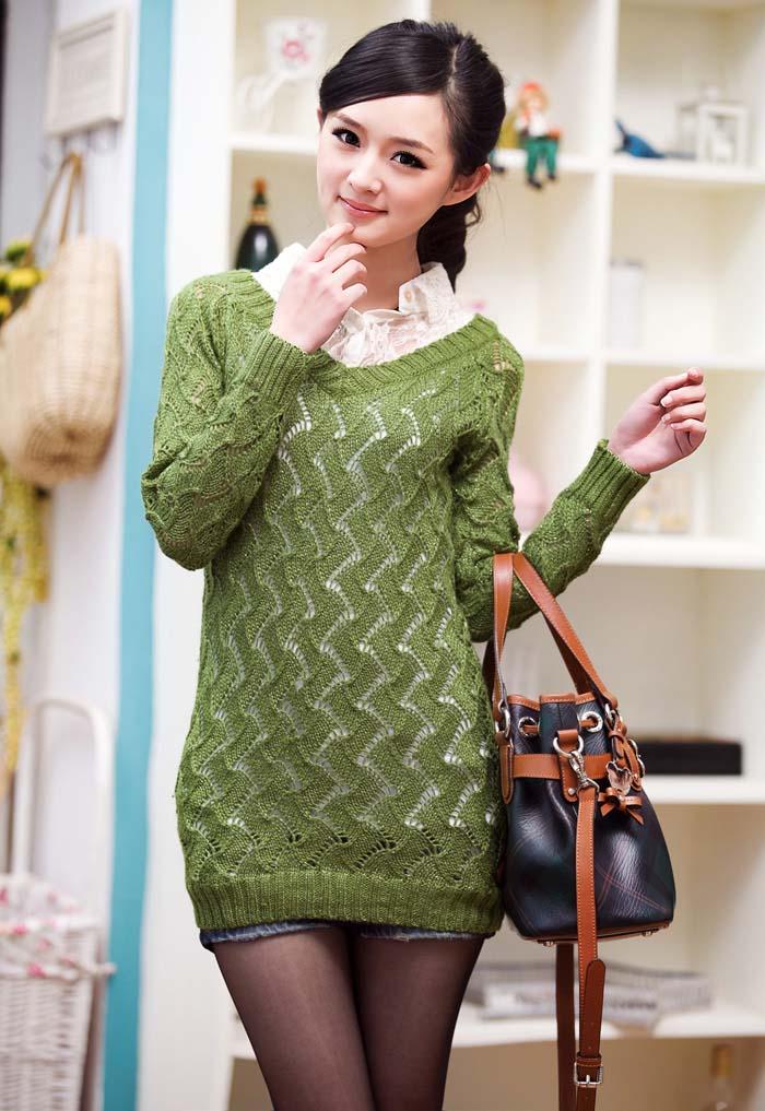 我本时尚1218百搭花边衬衫领毛线衣(绿色)